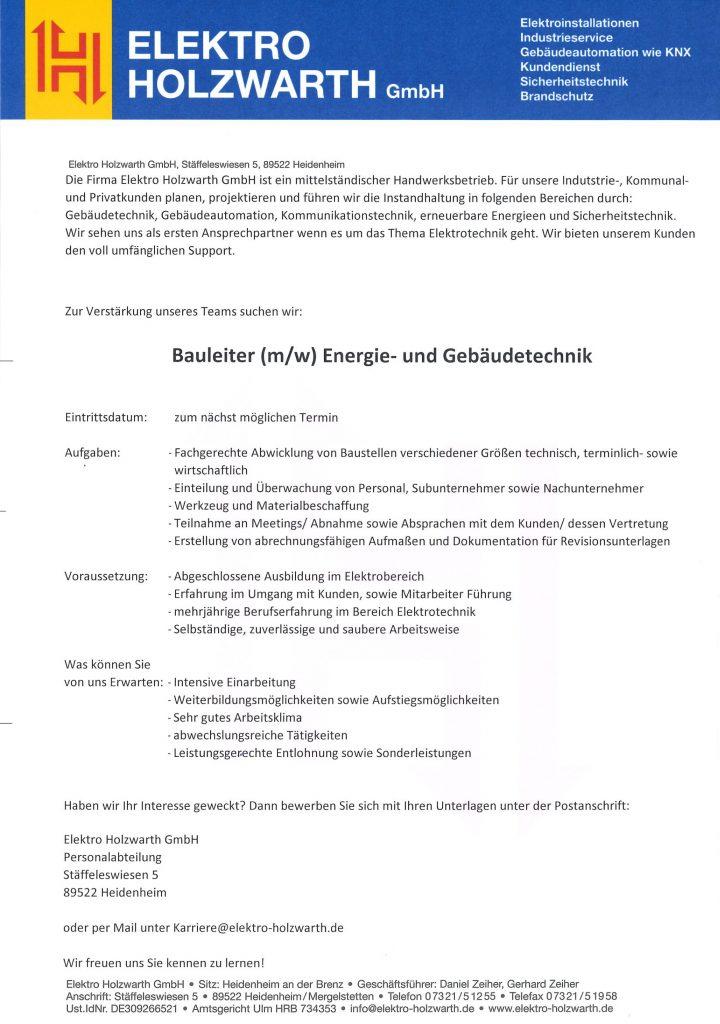 Karriere Elektro Holzwarth Gmbh